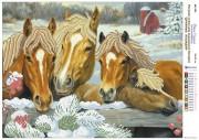 Рисунок на атласе для вышивки бисером Дружные лошадки