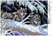Рисунок на атласе для вышивки бисером Волки в зимнем лесу