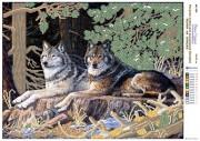 Рисунок на атласе для вышивки бисером Волки на опушке