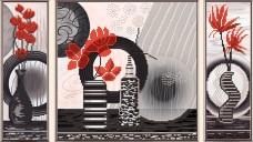 Рисунок на ткани  для вышивки бисером Красные цветы Новая Слобода (Нова слобода) В32005