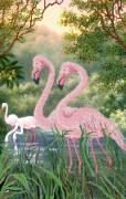 Рисунок на атласе для вышивки бисером Фламинго