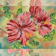 Рисунок на ткани для вышивки бисером Алый гибискус