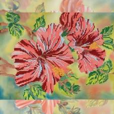 Рисунок на ткани для вышивки бисером Алый гибискус Абрис Арт АС-174