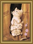 Рисунок на габардине для вышивки бисером Это мы,- коты