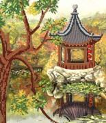 Рисунок на атласе для вышивки бисером Восточное спокойствие