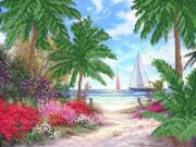 Рисунок на атласе для вышивки бисером Дорога к морю