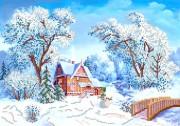 Рисунок на атласе для вышивки бисером Зимушка-зима