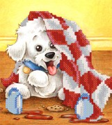Рисунок на ткани для вышивки бисером Забавный щенок