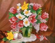 Рисунок на ткани для вышивки бисером Тюльпаны и нарциссы