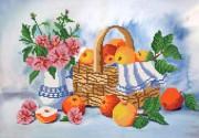 Рисунок на ткани для вышивки бисером Корзина яблок