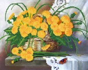 Рисунок на ткани для вышивки бисером Одуванчики