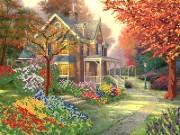 Рисунок на ткани для вышивки бисером Осенний дворик