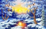 Рисунок на ткани для вышивки бисером Зимний лес