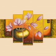 Рисунок на ткани для вышивки бисером Лепестки магнолий, Полиптих из 5 частей