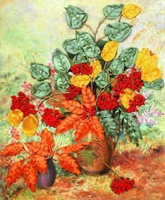 Набор для вышивки лентами Осенняя рябина, , 160.00грн., НЛ-3007, Марiчка (Маричка), Вышивка лентами