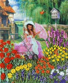 Набор для вышивки лентами Уютный садик, , 160.00грн., НЛ-3008, Марiчка (Маричка), Вышивка лентами
