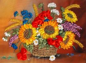 Набор для вышивки лентами Корзина летних цветов, , 211.00грн., НЛ-3011, Марiчка (Маричка), Вышивка лентами