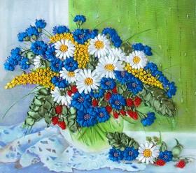 Набор для вышивки лентами Полевые цветы на окне, , 198.00грн., НЛ-3014, Марiчка (Маричка), Вышивка лентами