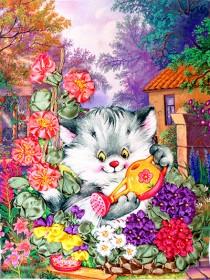 Набор для вышивки лентами Котенок - садовод, , 101.00грн., НЛ-4011, Марiчка (Маричка), Вышивка лентами