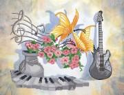 Рисунок на ткани для вышивки бисером Музыкальный натюрморт