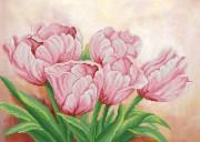Рисунок на ткани для вышивки бисером Розовые цветы весны