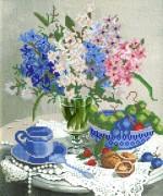 Рисунок на ткани для вышивки бисером Весенний букет