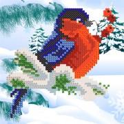 Рисунок на ткани для вышивки бисером Снегирь