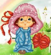 Рисунок на ткани для вышивки бисером Розовая шляпа