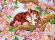 Рисунок на ткани для вышивки бисером Весенний котенок