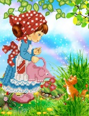Рисунок на ткани для вышивки бисером Садовница Марiчка (Маричка) РКП-4-035