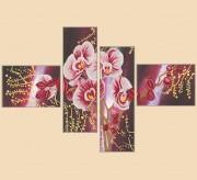 Рисунок на ткани для вышивки бисером Дикая орхидея, полиптих и 4 частей