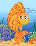 Рисунок на ткани для вышивки бисером Золотая рыбка