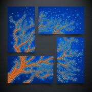 Схема вышивки бисером на атласе Дерево жизни. Вода
