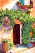 Рисунок на ткани для вышивки бисером Цветущий дворик 2