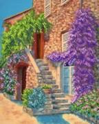 Рисунок на ткани для вышивки бисером Цветущий дворик