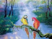 Рисунок на габардине для вышивки бисером Попугаи