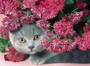 Рисунок на габардине для вышивки бисером Кошка Ветка