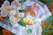 Рисунок на габардине для вышивки бисером Цветущий персик