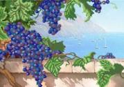 Рисунок на атласе для вышивки бисером Виноград