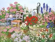 Рисунок на атласе для вышивки бисером Цветы в саду