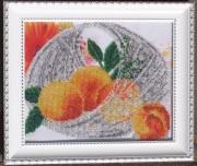 Рисунок на габардине для вышивки бисером В хрустале. Персики