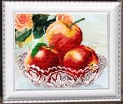Рисунок на габардине для вышивки бисером В хрустале. Яблоки