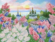 Рисунок на атласе для вышивки бисером Весенний Киев