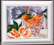 Рисунок на габардине для вышивки бисером В хрустале. Мандаринки