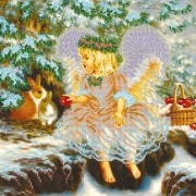 Рисунок на ткани для вышивки бисером Рождественский гостинец