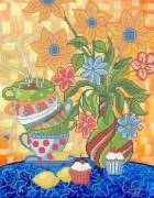 Рисунок на габардине для вышивки бисером Натюрморт с чашечками