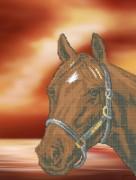 Рисунок на габардине для вышивки бисером Конь