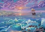 Рисунок на габардине для вышивки бисером Морской бриз