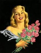 Рисунок на габардине для вышивки бисером Розы из прошлого