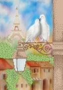 Рисунок на атласе для вышивки бисером Голуби и Париж